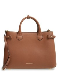Burberry Medium Banner Leather Tote Red