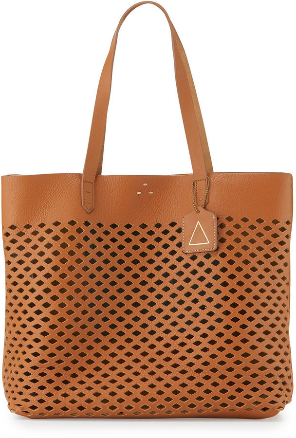 Kelsi Dagger Commuter Laser Cut Leather Tote Bag Cognac