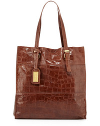Badgley Mischka Liv Crocodile Embossed Leather Tote Bag Cappuccino