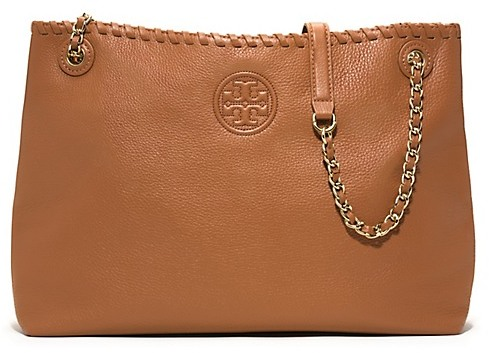 ... Brown Leather Tote Bags Tory Burch Marion Chain Shoulder Slouchy Tote 653ca1132387