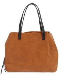 Sole Society Faux Leather Tote Brown