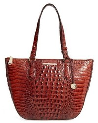 Brahmin Willa Croc Embossed Leather Tote Black