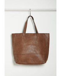 Forever 21 Zippered Side Faux Leather Tote