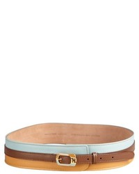 Fendi Brown Colorblock Leather Enameled Buckle Wide Belt