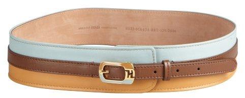 Fendi Brown Colorblock Leather Enameled Buckle Wide Belt