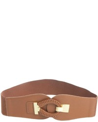 Fashion Focus Cocoa Faux Leather Woven Hook And Eye Waist Belt