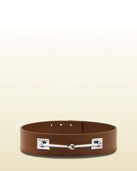 Gucci Leather Horsebit Waist Belt