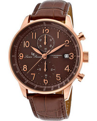 Lucien Piccard 10503 Rg 04 Br Brown Genuine Leatherbrown Chronograph Watches