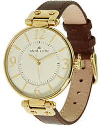Anne Klein 109168ivbn Round Dial Leather Strap Watch Analog Watches