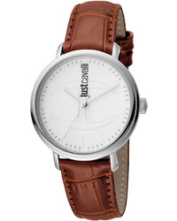 Just Cavalli 34mm Cfc Stainless Steel Watch W Leather Strap Whitebrown