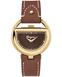 Salvatore Ferragamo 37mm Buckle Watch W Diamonds Leather Strap Brown