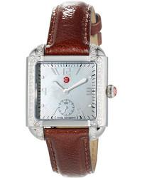 Michele 39mm Milou Watch W Diamond Bezel Patent Leather Strap Brown