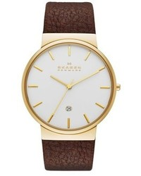 Skagen Ancher Leather Strap Watch 40mm