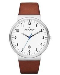 Skagen Ancher Round Leather Strap Watch 40mm