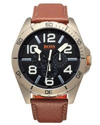 Boss Orange Berlin Multifunction Leather Strap Watch 50mm