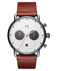 MVMT Blacktop Chronograph Leather Watch