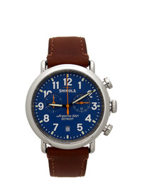 Shinola Blue And Brown The Runwell Automatic 45mm Watch