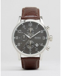Hugo Boss Boss Roliner Leather Watch In Brown