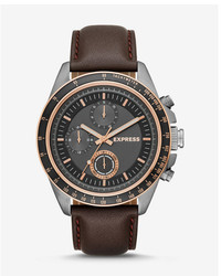 Express Brown Leather Strap Multi Function Watch