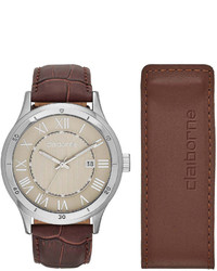 Claiborne Brown Leather Watch And Money Clip Set