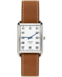 Tom Ford Brown Silver Leather 001 Watch