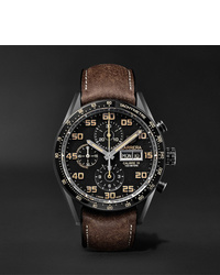 Tag Heuer Carrera Automatic Chronograph 45mm Titanium And Leather Watch Ref No Cv2a84fc6394
