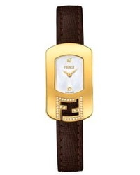 Fendi Chameleon Diamond Goldtone Stainless Steel Mother Of Pearl Leather Small Signature Strap Watch