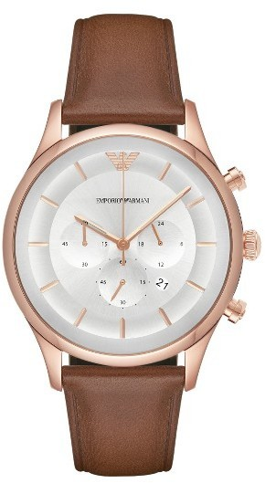 Emporio Armani Chronograph Leather Strap Watch 43mm