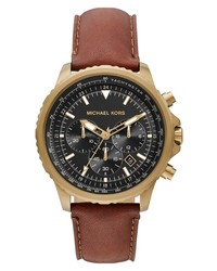 MICHAEL Michael Kors Cortlandt Chronograph Leather Watch