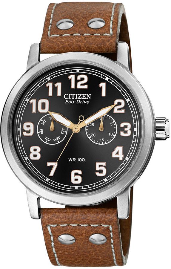 Citizen Eco Drive Brown Leather Strap Watch 43mm Ao9030 05e 226b1c72750f