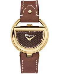 Salvatore Ferragamo Ferragamo 37mm Buckle Watch W Diamonds Leather Strap Brown