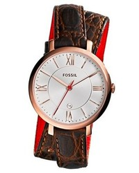 Fossil Jacqueline Round Wrap Leather Strap Watch 36mm