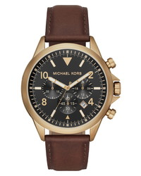Michael Kors Gage Chronograph Leather Watch