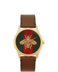 Gucci Gold And Brown Medium G Timeless Bee Watch