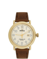 Shinola Gold And Off White The Runwell 41mm Watch