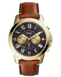 Fossil Grant Leather Strap Watch 44mm