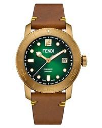 Fendi Green Opalin Leather Watch