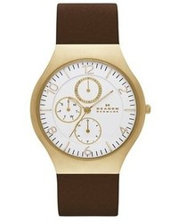 Skagen Grenen Multifunction Leather Strap Watch 41mm