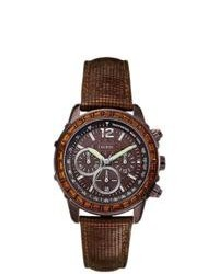 GUESS U0017l4 Brown Leather Quartz Watch With Brown Dial