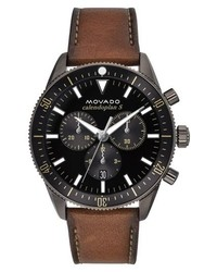 Movado Heritage Chrono Leather Strap Watch