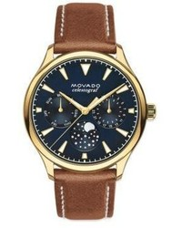 Movado Heritage Goldtone Stainless Steel Leather Strap Celestograf Watch