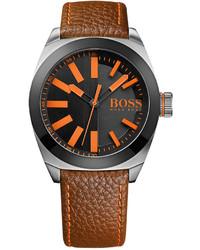 Boss Orange Hugo Boss London Brown Leather Strap Watch 42mm 1513055