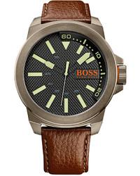 Boss Orange Hugo Boss New York Brown Leather Strap Watch 53mm 1513168