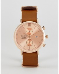 Reclaimed Vintage Inspired Rose Gold Chronograph Leather Watch In Brown To Asos