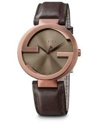 Gucci Interlocking Brown Pvd Stainless Steel Leather Strap Watch42mm