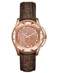 Karl Lagerfeld Round Crystal Dial Leather Strap Watch 36mm