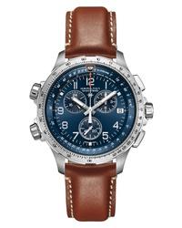 Hamilton Khaki Aviation X Wind Chronograph Gmt Leather Watch