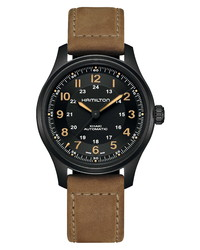 Hamilton Khaki Field Titanium Automatic Leather Bracelet Watch
