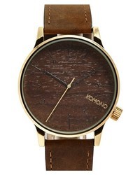 Komono winston round leather strap watch 41mm medium 358456