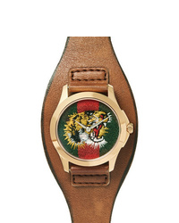 Gucci Le March Des Merveilles 38mm Gold Tone And Leather Watch